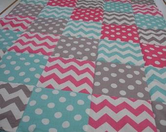 Hot Pink Aqua Gray Chevron and Dots  3 Piece Baby Crib Bedding Set MADE TO ORDER