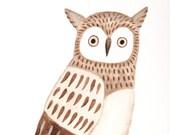 Owl Print Owl Nursery Art Print Owl Illustration Print Watercolor Painting Woodland Nursery Wall Decor Rustic Boho Home Decor Pastel Brown
