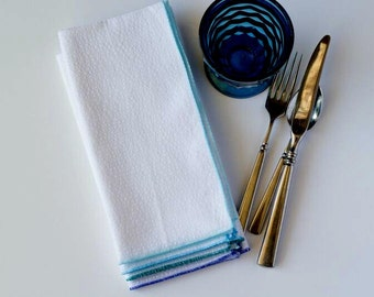 Blue Ombre on White Seersucker Cloth Napkins by Dot and Army, set of four