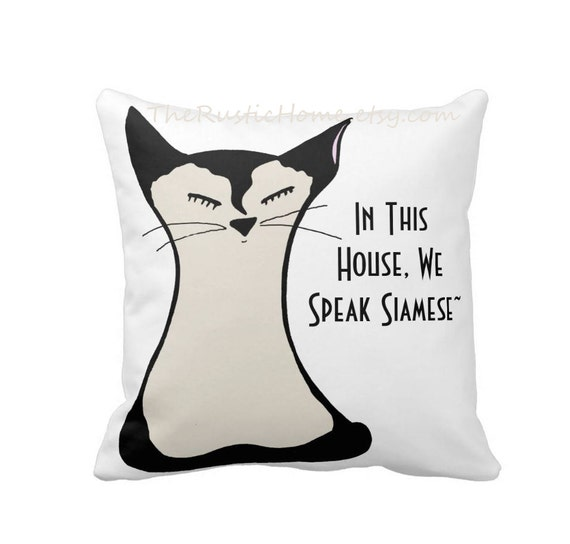 Siamese kitty cat toss pillow square 16x16 cat lover gift black cream white siamese cat themed custom pillows home decor