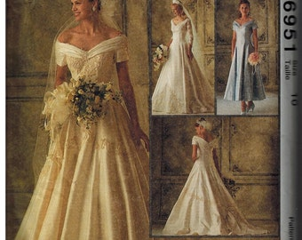 Dress Bridal Gown Formal McCalls Pattern 6951 Size 10 UNCUT Dated 1994 Sweetheart Neckline train Roman Holiday Audrey Hepburn