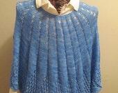 Cornflower Blue Hand-knit Poncho