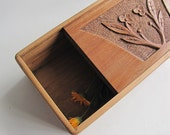 Wooden carved box Upcycled Treasure box  Flowers
