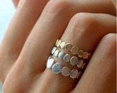 20% Off Sale Gold and Silver Pebble Ring Set   Stacking Ring Set   Stackable Ring  Natural Inspired
