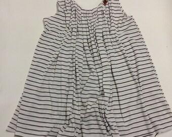 Natical White Stripey Handmade Cotton Knit Shift Swing dress