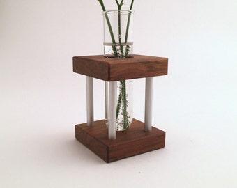 Mid Century Modern - Inspired - Dark Wood - Metal - Unique Vase - Modern Art Vase - Unique Décor - Modern Accent Piece - Accent Vase