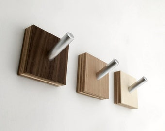 Wall Hooks, Modern Wood Coat Hooks, Minimalist Modern, Industrial Chic, Cubist Decor, Set of Three