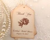 Thank you Favor Tags Vintage Rose Bridal Shower Set of 10