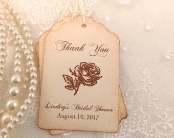 Thank you Favor Tags Vintage Rose Bridal Shower