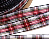 Plaid Ribbon, Offray Red, White, and Black Plaid Ribbon 7/8 inch wide x 7 yards