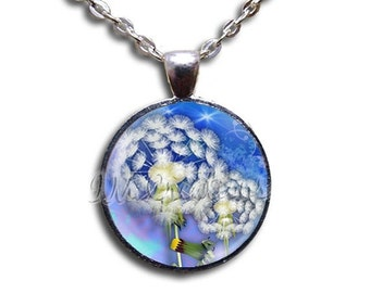 SALE - Dandelions Make A Wish - Round Glass Dome Pendant or with Necklace by IMCreations -  NT104