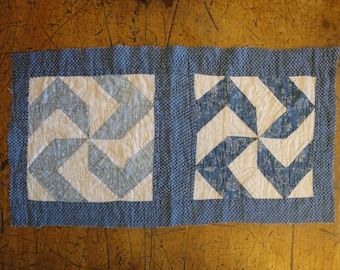 Old Blue Calico Pin Wheel Quilt Piece | Vintage Calico Quilt Piece |  Antique Blue Calico Cutter Quilt Piece