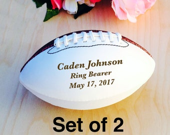 Ring Bearer Gift, Engraved Football, Mini Football, Groomsmen, Engraved Gift, Christmas Gift, Wedding Gift, Set of 2 Balls, Design #3