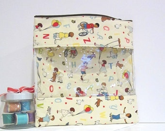 Grab & Go Bag - XL Zipper Pouch Nursery Diaper Bag Baby Toys Vintage Children
