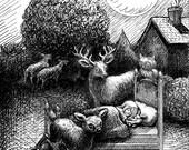 Art print woodland dream deer moon night girl fantasy digital wall decor