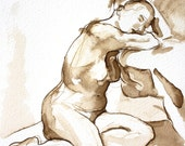 Natalie Seated Leaning on Chair - Original Ink Wash Figure Drawing