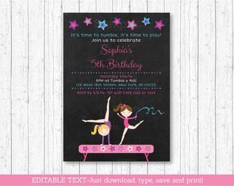 Gymnastics Chalkboard Birthday Invitation / Girl Gymnastics Birthday Invitation / Gymnastics Invite / INSTANT DOWNLOAD Editable PDF