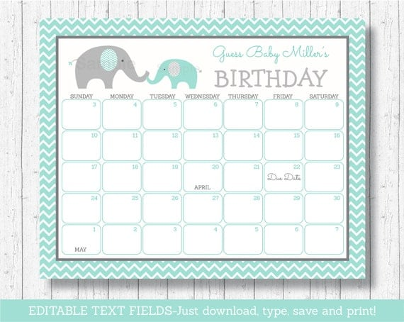 predictions calendar baby due date calendar elephant baby shower