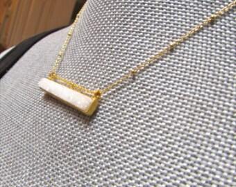 White Drusy Bar Pendant Gold Etched Gold Vermeil Chain Geode Quartz
