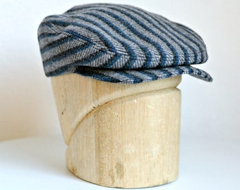 Men's Driving Cap in Gray and Navy Stripe Wool - Flat Cap
