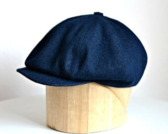 Men's Newsboy Cap in Denim - Newsboy Hat - Made to Order in Your Size