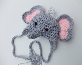 Crochet Baby Hat - Boy Elephant Hat - Girl Elephant - You pick size and color - Ready To Ship