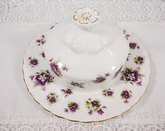 Royal Albert Sweet Violets Covered Butter Dish - Bone China England - Excellent Condition