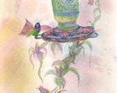 Watercolor Painting Hummingbird Art, Hummingbird Painting, Hummingbird Watercolor, Watercolor Hummingbird, Print Titled Hummer's Delight