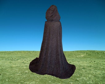 Black Cloak- Hooded Cape - Halloween Costume - Renaissance - Wedding - Costume - Fantasy- Steampunk- Medieval Renaissance Clothing - Faerie