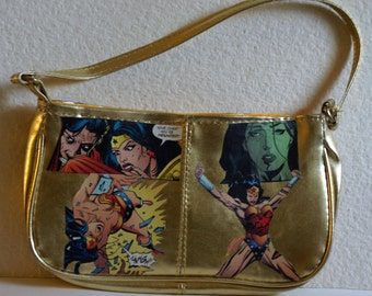 Decoupaged Wonder Woman Gold Handbag Top Handle Wonder Woman Purse