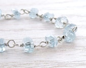 Aquamarine Bracelet, March Birthstone, Faceted Blue Stones, Oxidized Sterling Silver, March Birthday, Wire Wrapped, #3824