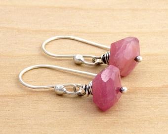 Pink Sapphire Earrings, Pink Corundum Earrings, September Birthstone Earrings, Faceted Pink Sapphire, Pink Gemstone Earrings,  #4651