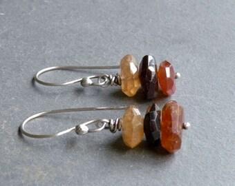 Brown Garnet Earrings, Hessonite Garnet, Sterling Silver, January Birthstone, Dangle Earrings, Rustic, Faceted, #3781