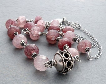 Muscovite Necklace, Muted Plum and Pink Gemstones, Faceted Muscovite, Sterling Silver, Wire Wrapped, Gemstone Necklace, #4672