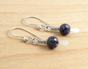 Sapphire Earrings, Blue Gemstone, Blue Ethnic Earrings, September Birthstone, Ethnic Style Earrings, #4301