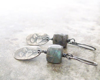 labradorite earrings, gemstone earrings, blue green stone earrings, botanical earrings, oxidized silver earrings, rustic gemstone earrings
