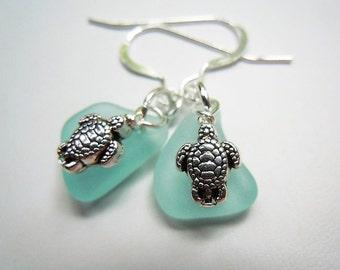 Turtle Dangle Earrings  Sea Glass  Beach Glass Earrings, Tropical Sea Glass Earrings, Seaglass Jewelry