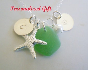 Green Personalized Sea Glass Necklace Beach Glass Necklace Seaglass Jewelry Charm Necklace Starfish