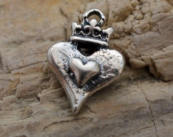 Heart Charm with Crown in Sterling silver