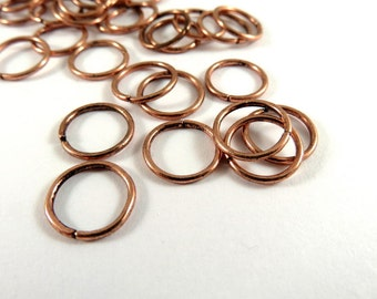 100 - 10mm Antique Copper Jump Rings Plated Open 18 Gauge NF 10mm Outside - 100 pc - F4003JR-AC10mm