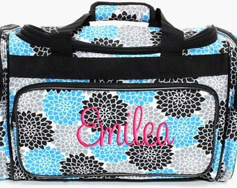 Personalized Duffle Bag Floral Gray Blue Monogrammed Ballet Dance Travel