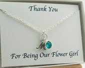 Flower Girl Necklace December Birthday Gift,  Initial Necklace, Birthstone Jewelry, Flower Girl Thank You Gift Asking Flower Girl Jewelry