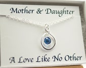 Birthstone Necklace with Card Infinity Necklace September Birthday Gift for Mom New Mom Gift Sapphire Mothers Day from Daughter Mothers Day