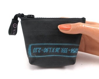 Small purse. Recycled bicycle inner tube purse with red zipper and bottom, top quality.