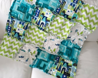 Turquoise + Lime Quilted Snuggle Rag Baby Toddler Lap Blanket