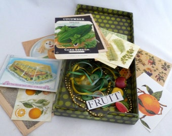 Ephemera kit - Fruit/food inspired, pear box with buttons, ribbon, trim, vintage book pages, seed packet, fruit/food art