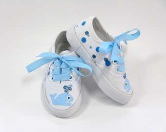 Whale Shoes, Nautical Theme Baby Shower or Birthday, Hand Painted Blue Whale Sneakers for Baby or Toddler