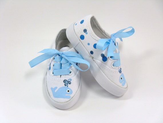 Whale Shoes, Nautical Theme, Baby Shower or Birthday, Hand Painted, Ocean or  Deep Sea, Blue Whale Sneakers for Baby or Toddler