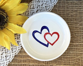 CLEARANCE - Double Hearts Ceramic Ring Bowl - Interlocking Hearts Wedding Ring Holder, Wedding Ring Dish, Ring Holder Ready to Ship