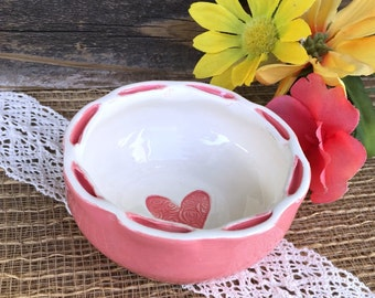 Floral Embossed Heart Ring Dish - Ring Bowl, Jewelry Dish, Trinket Dish, Ring Holder, Jewelry Holder, Vanity Dish, Ready to Ship